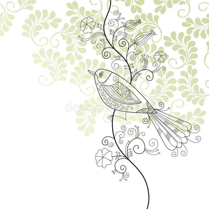 Pájaro y flores ilustración del vector