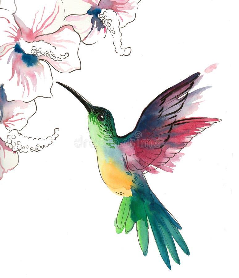 Pájaro y flores del tarareo libre illustration