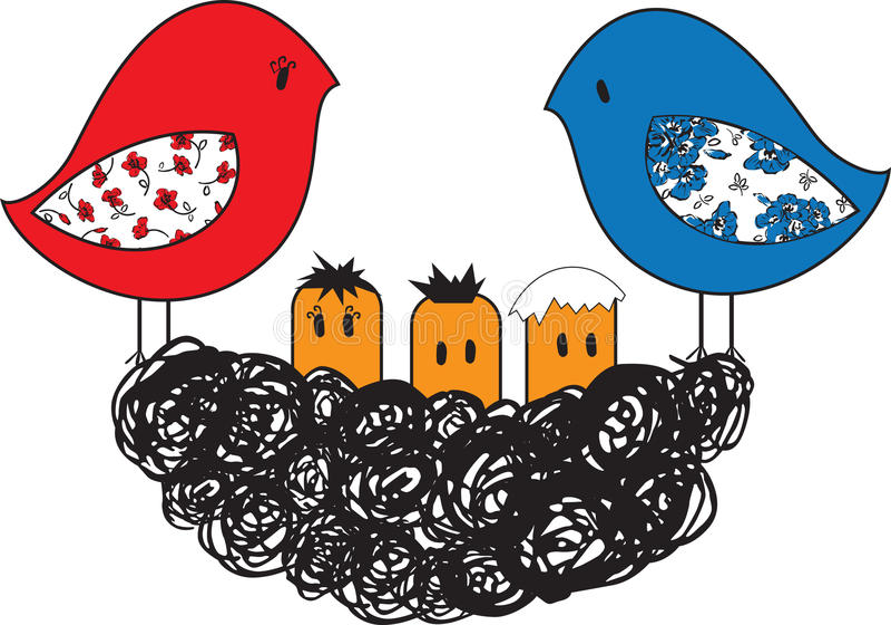 Pájaro y jerarquía con los polluelos stock de ilustración