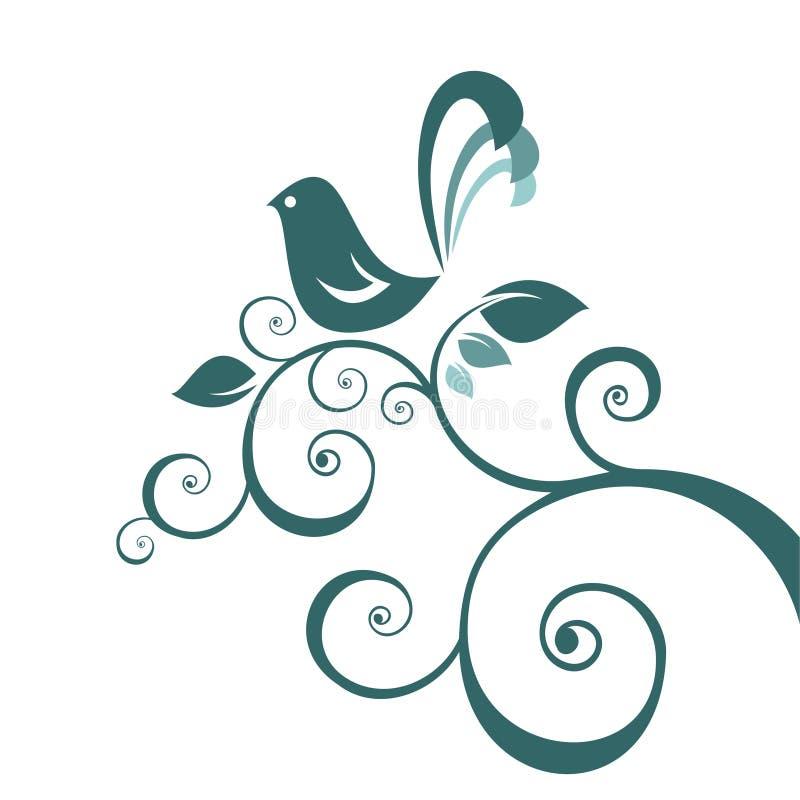 Pájaro y modelo floral libre illustration