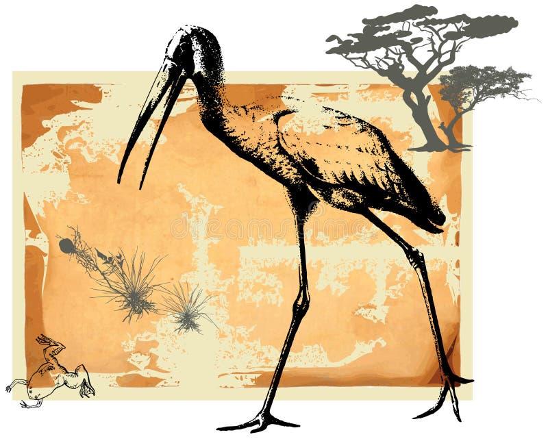 Pájaro y rana de agua libre illustration