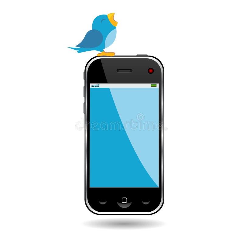 Pájaro y teléfono celular ilustración del vector