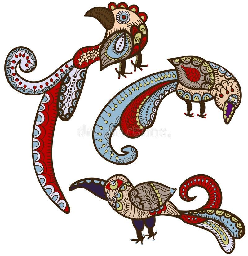 Pájaros étnicos ilustración del vector
