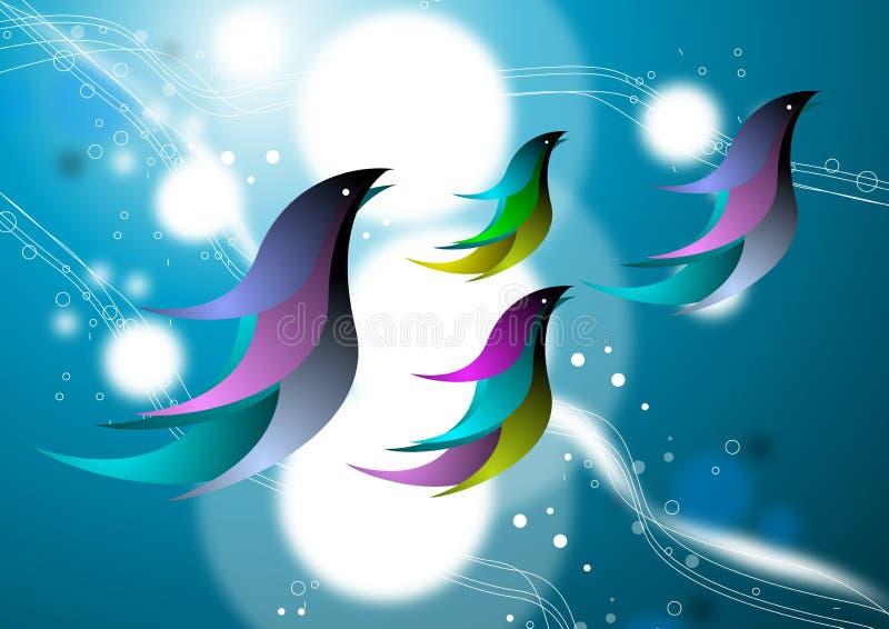 Pájaros abstractos en cielo azul stock de ilustración