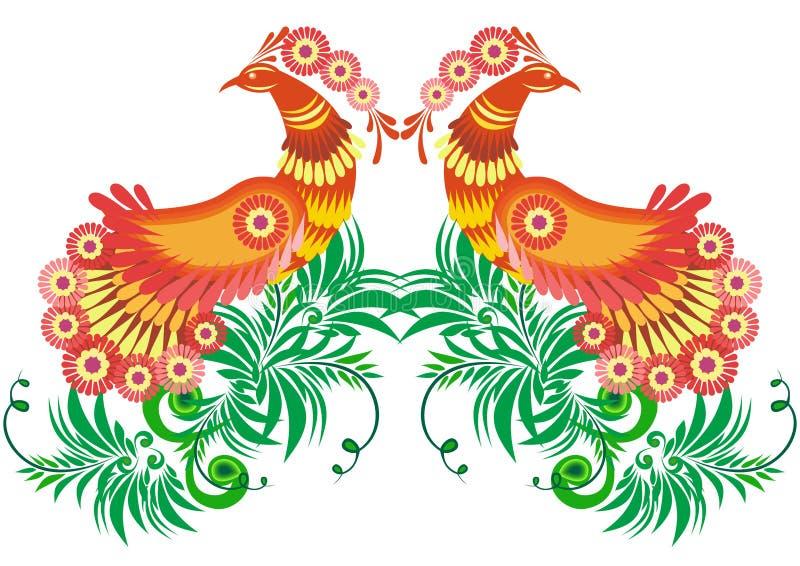 Pájaros abstractos y ramas florales ilustración del vector