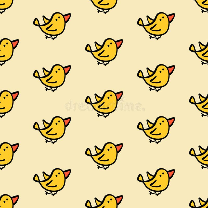 Pájaros amarillos que vuelan el modelo inconsútil exhausto de la mano libre illustration