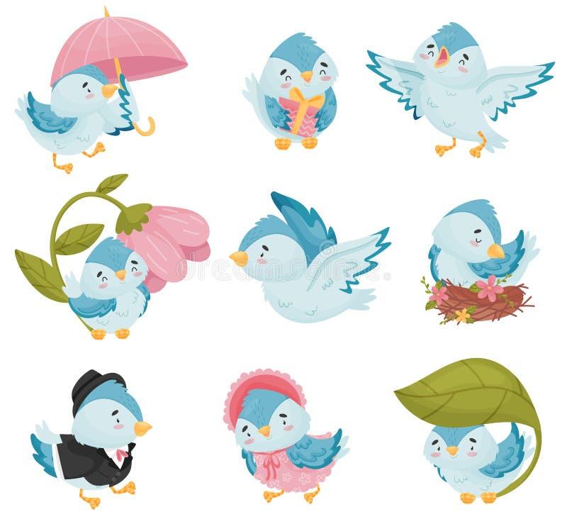 Pájaros azules de la historieta en diversas situaciones Ilustraci?n del vector en el fondo blanco stock de ilustración