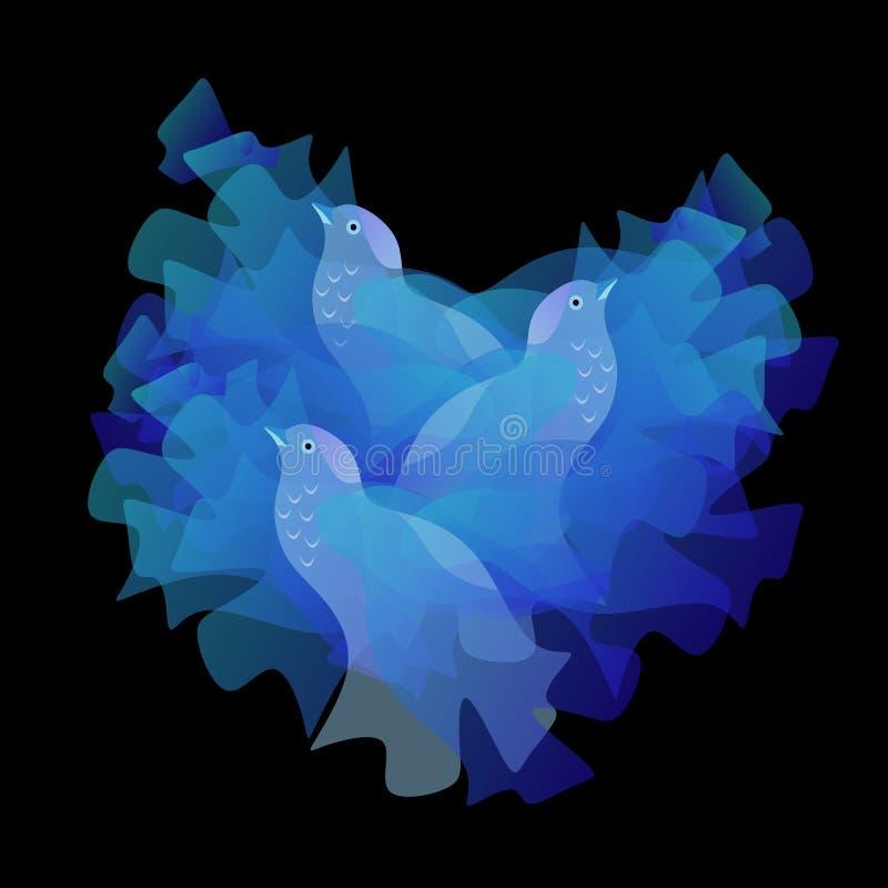 Pájaros azules hermosos en la jerarquía aislada en fondo negro stock de ilustración