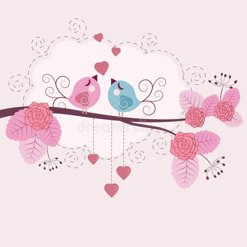 Pájaros cariñosos ilustración del vector