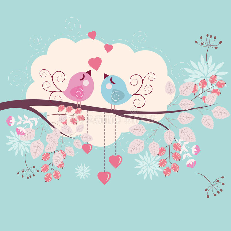 Pájaros cariñosos stock de ilustración