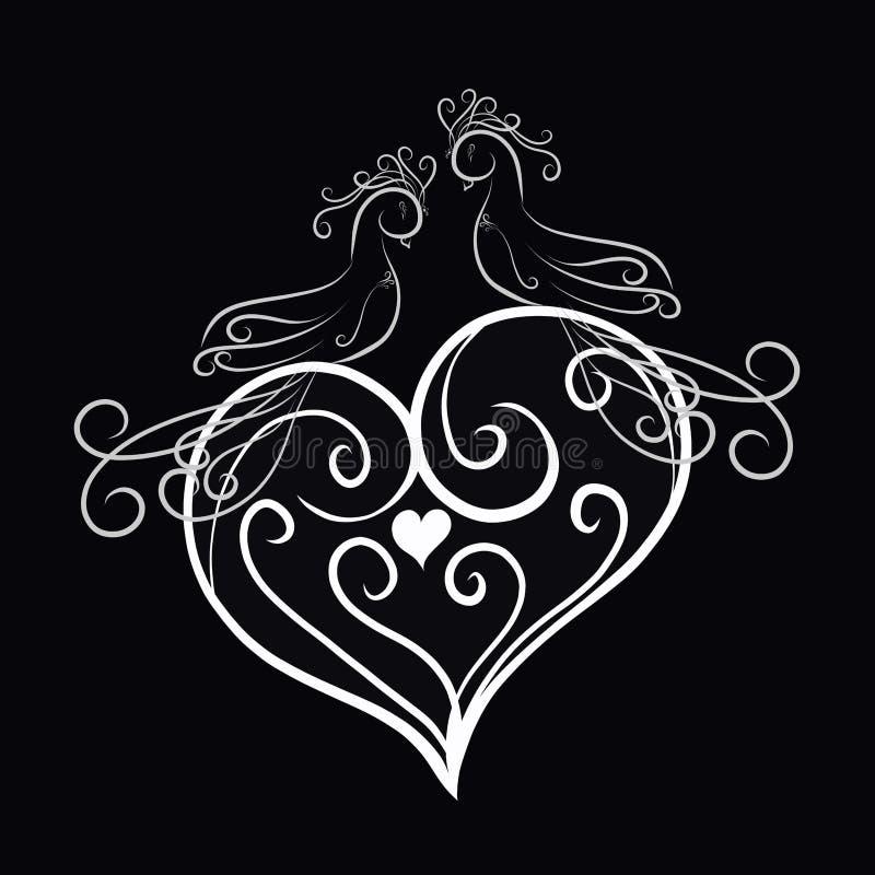 Pájaros cariñosos elegantes en un corazón modelado libre illustration