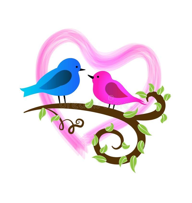 Pájaros cariñosos en una rama, y logotipo del icono del corazón del rosa stock de ilustración