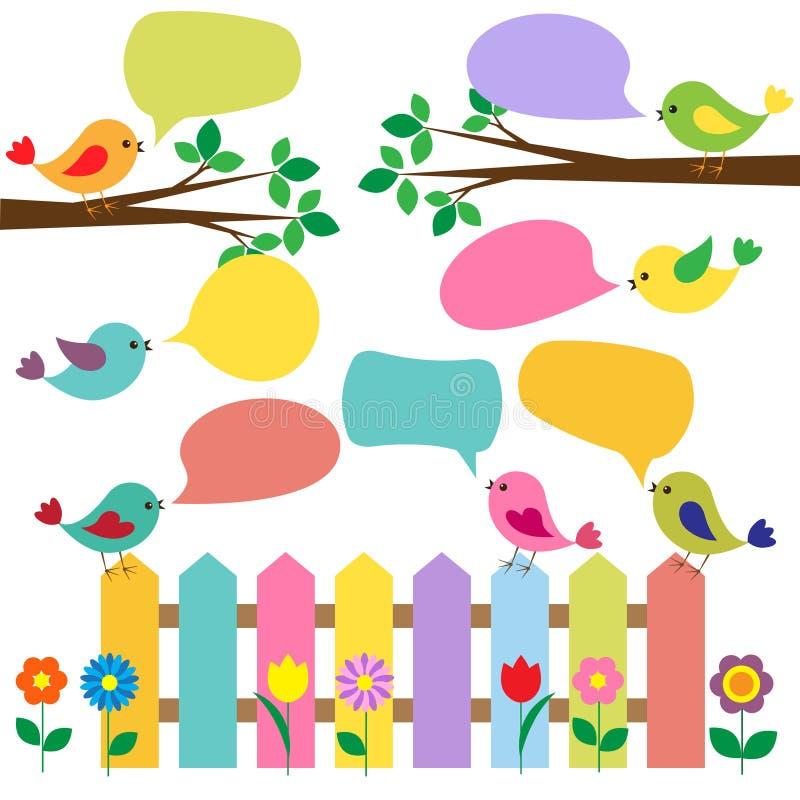 Pájaros coloridos con las burbujas para el discurso libre illustration