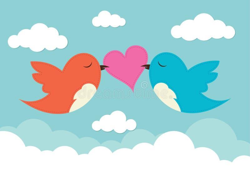 2 pájaros con el corazón del amor libre illustration