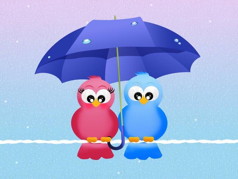 Pájaros con el paraguas libre illustration