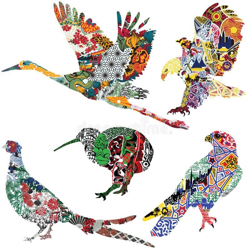 Pájaros con los ornamentos étnicos stock de ilustración