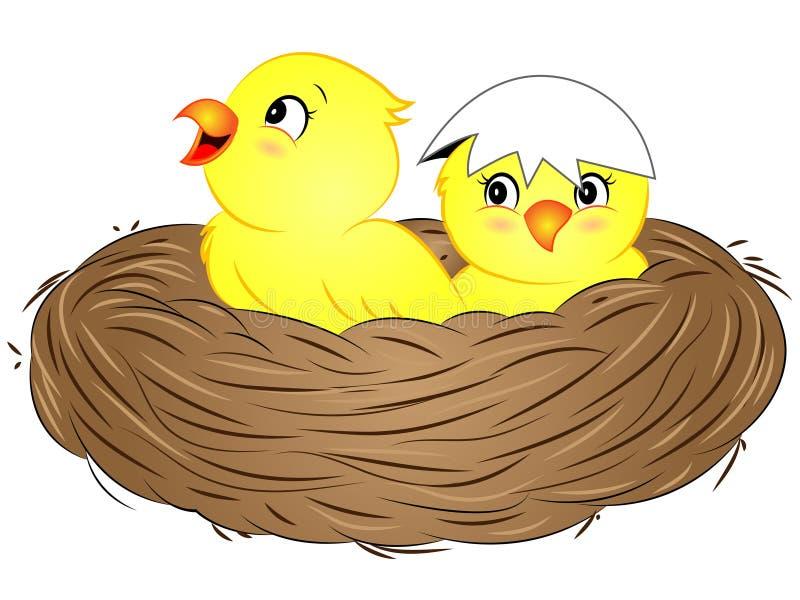 Pájaros de bebé amarillos de la historieta en jerarquía stock de ilustración