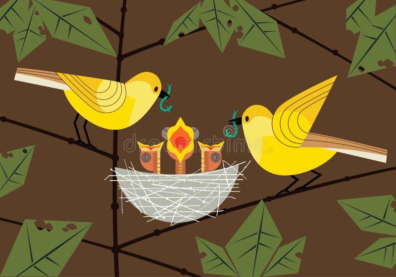 Pájaros de bebé en jerarquía stock de ilustración