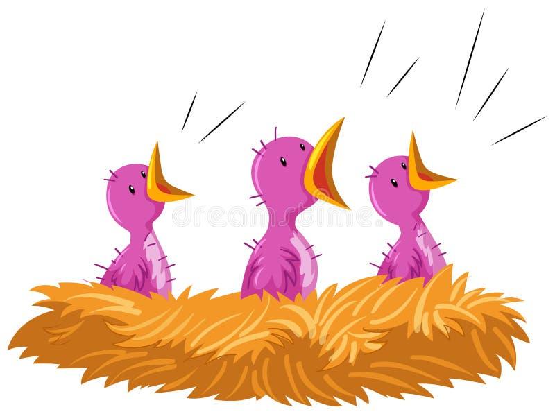 Pájaros de bebé que lloran en la jerarquía ilustración del vector
