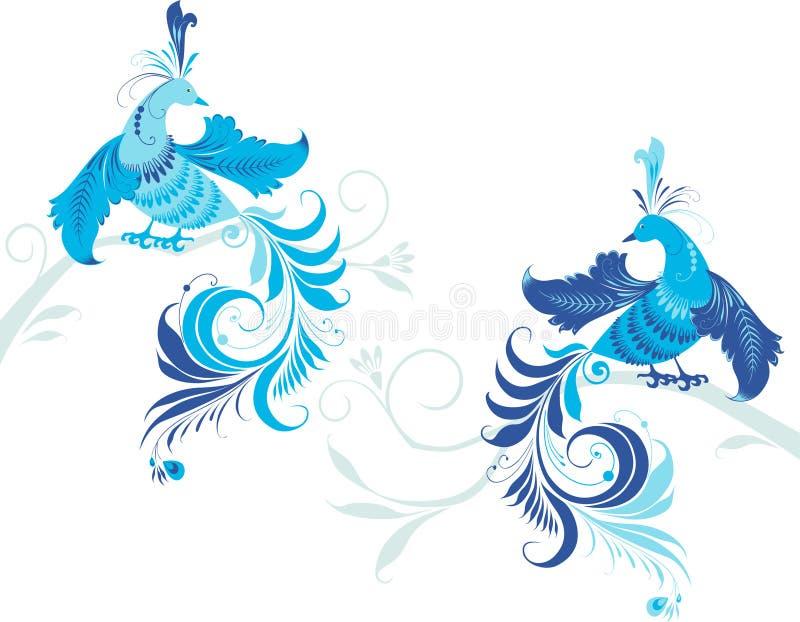 Pájaros de la fantasía en la rama stock de ilustración