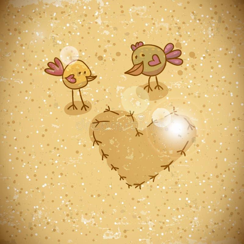 Pájaros de la historieta con el corazón stock de ilustración