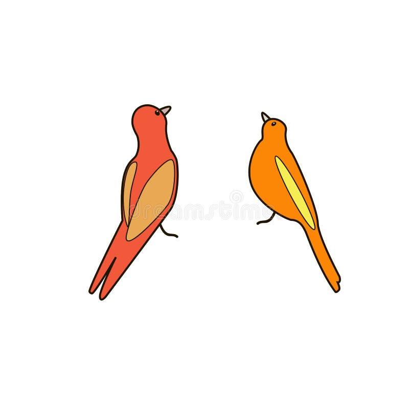 Pájaros de la historieta El ejemplo del vector, se puede utilizar para crear la tarjeta ilustración del vector