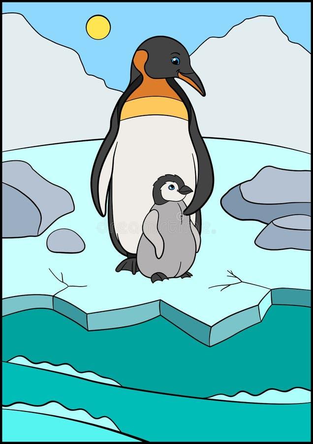 Pájaros de la historieta El pingüino de la madre se coloca con su pequeño bebé lindo en el hielo ilustración del vector