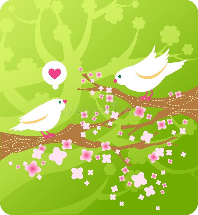 Pájaros de la historieta en amor libre illustration