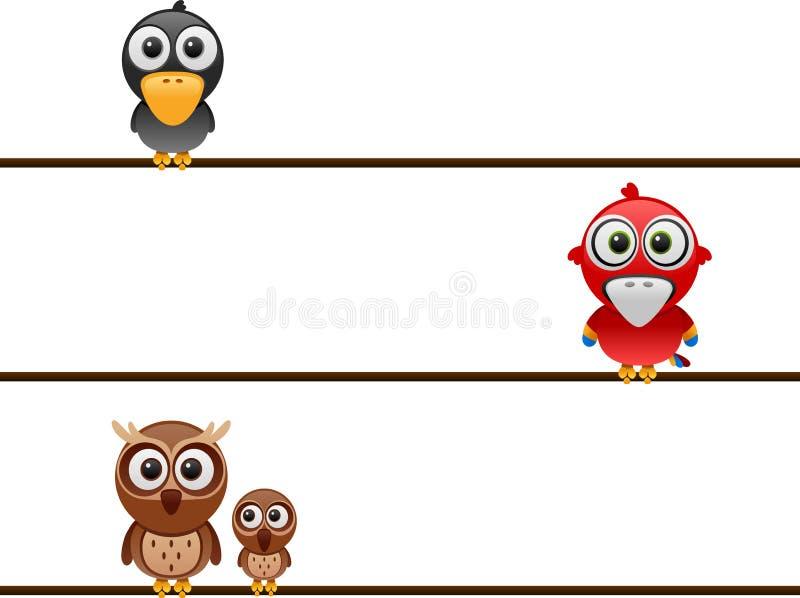 Pájaros de la historieta en el alambre stock de ilustración