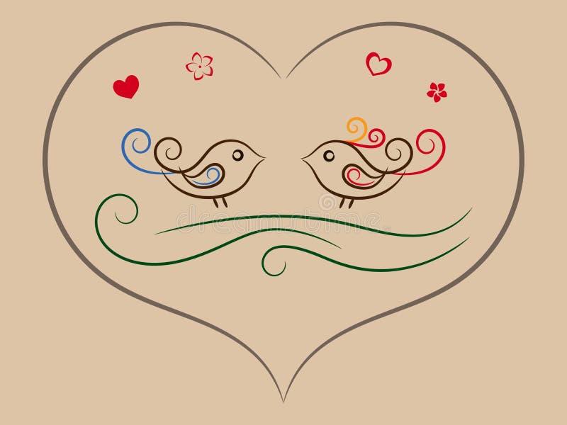 Pájaros de la ilustración en el corazón libre illustration