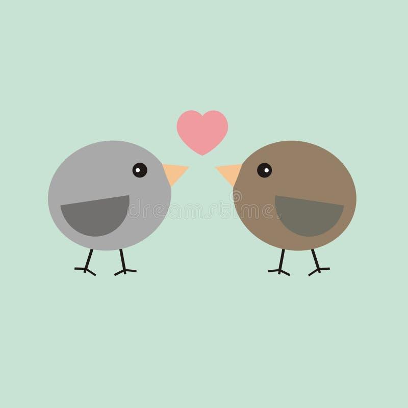 Pájaros de la tarjeta de la tarjeta del día de San Valentín en amor stock de ilustración