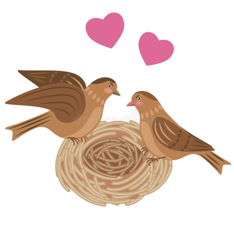 Pájaros de los pares en la jerarquía ilustración del vector