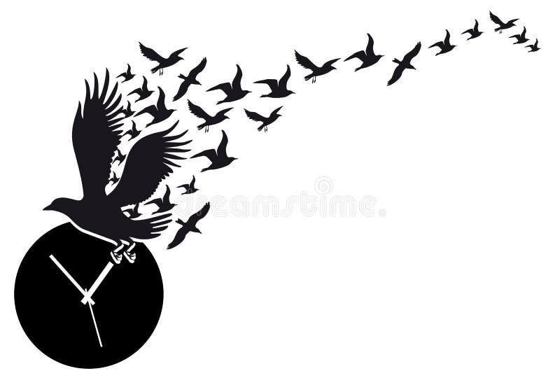 Pájaros de vuelo con el reloj, vector ilustración del vector
