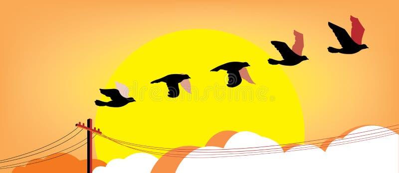 Pájaros de vuelo de la silueta en la puesta del sol libre illustration
