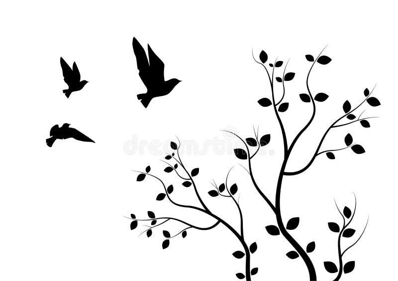 Pájaros de vuelo en rama, etiquetas de la pared, Art Design, pájaros de vuelo en el ejemplo del árbol Aislado en el fondo blanco libre illustration