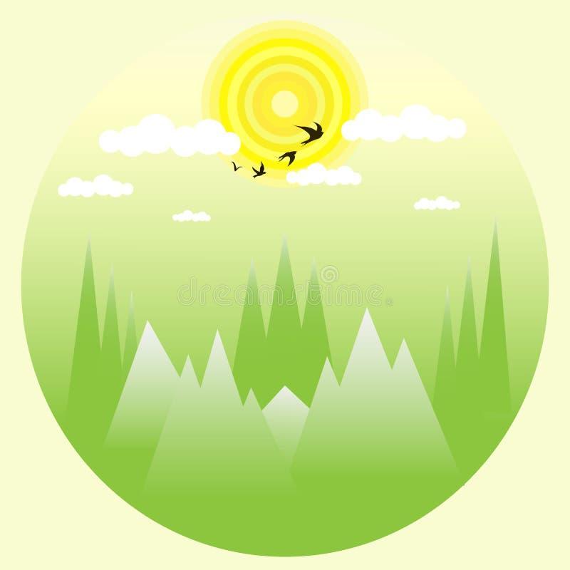 Pájaros de vuelo verdes del bosque en el ejemplo de las nubes ilustración del vector
