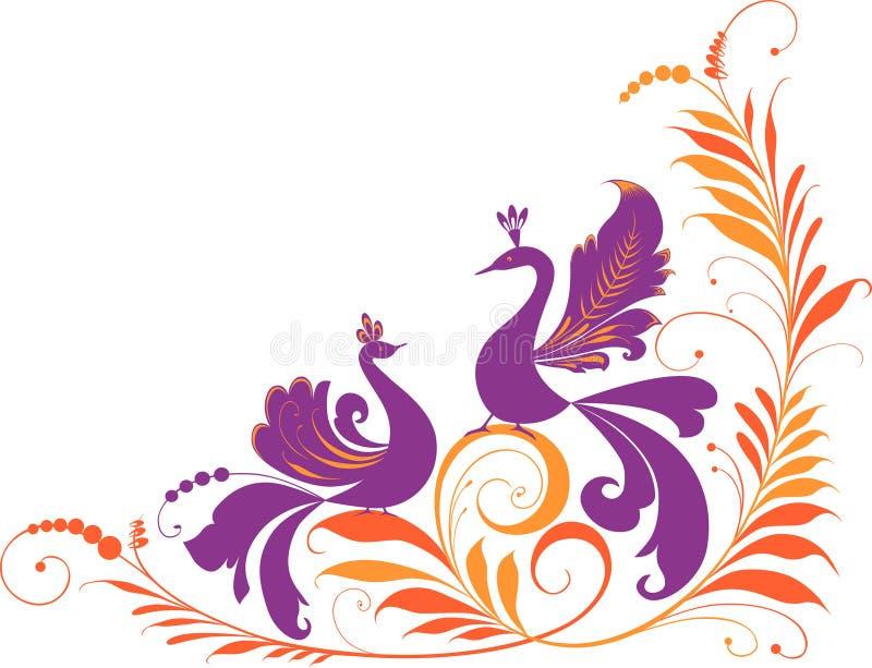 pájaros decorativos stock de ilustración