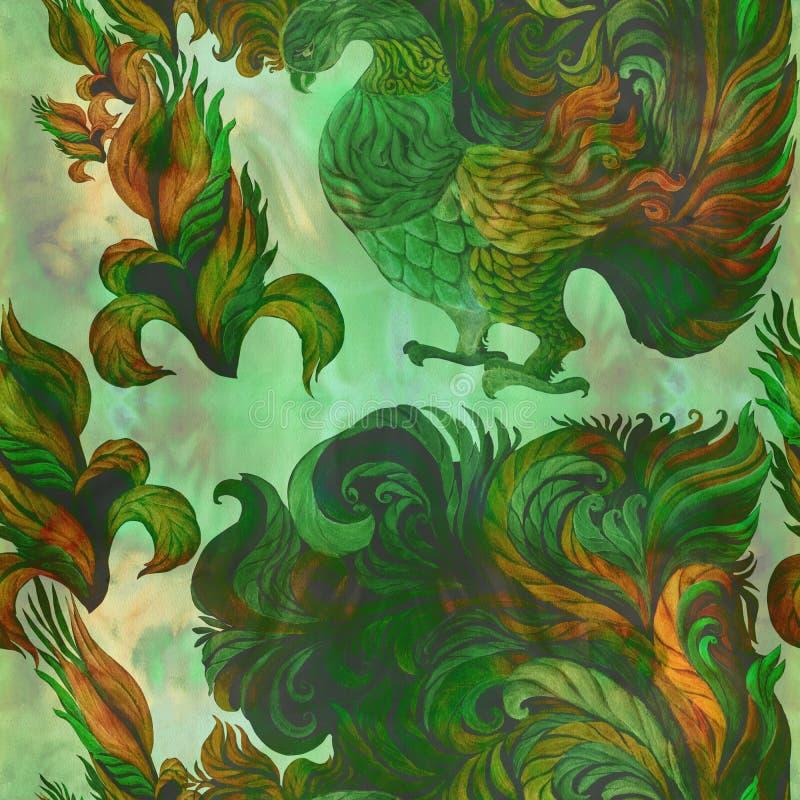Pájaros decorativos - acuarela wallpaper Estilo del este Modelo inconsútil Imagen de fondo abstracta Utilice los materiales impre ilustración del vector