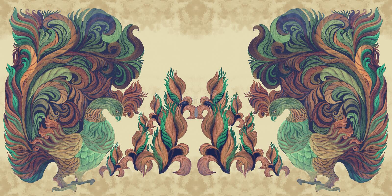 Pájaros decorativos - acuarela wallpaper Estilo del este Modelo inconsútil Imagen de fondo abstracta Utilice los materiales impre stock de ilustración