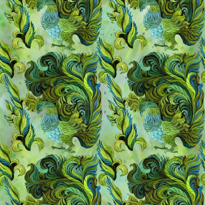 Pájaros decorativos - acuarela wallpaper Estilo del este Modelo inconsútil Imagen de fondo abstracta Utilice los materiales impre libre illustration