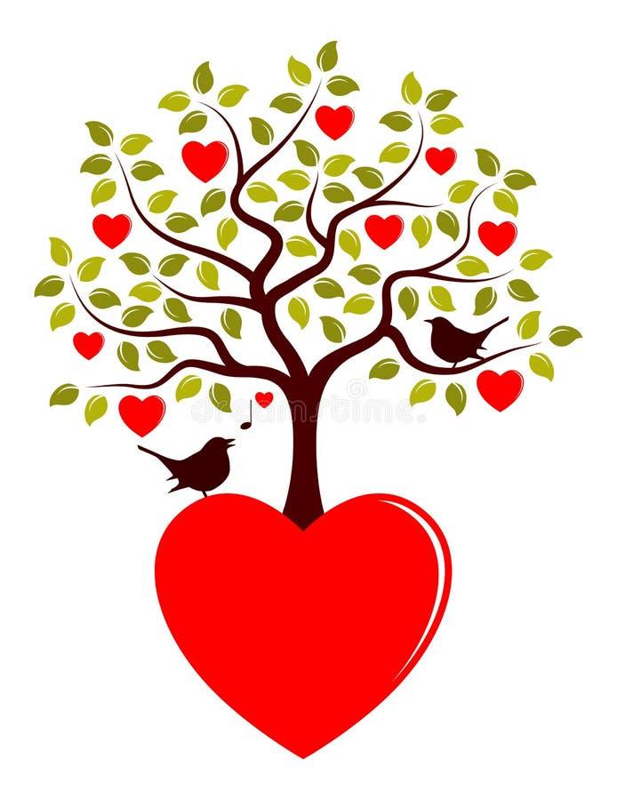 Pájaros del árbol y del amor del corazón ilustración del vector