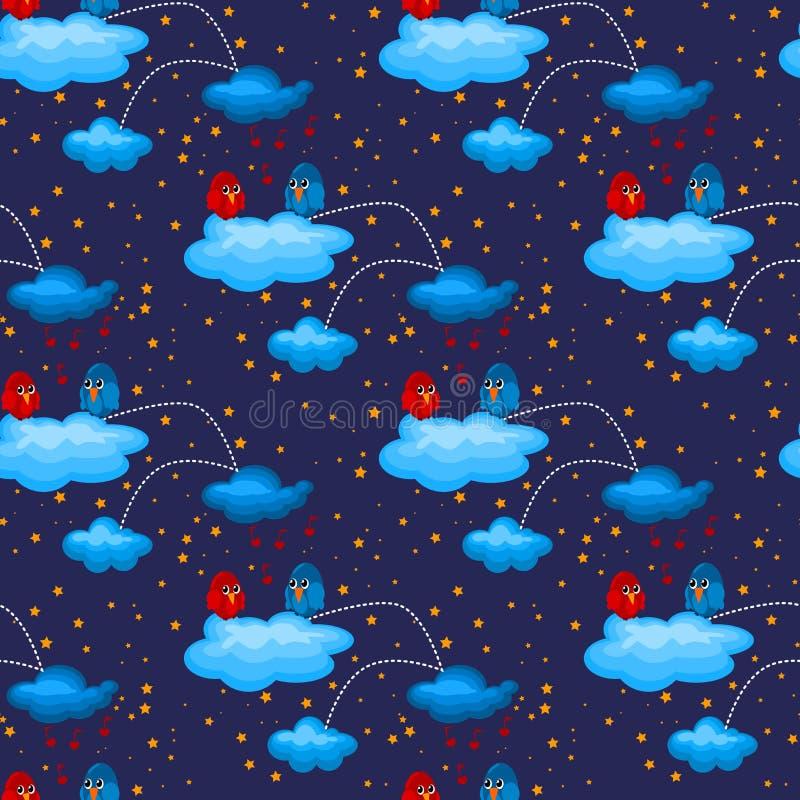 Pájaros del amor de la noche en modelo inconsútil de las nubes ilustración del vector