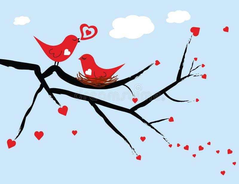 Pájaros del amor de la tarjeta del día de San Valentín foto de archivo