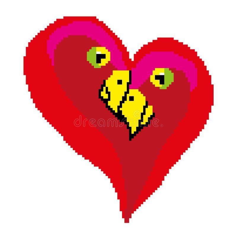 Pájaros del amor en la forma de un corazón dibujado por los cuadrados, pixeles Día feliz del ` s de la tarjeta del día de San Val stock de ilustración