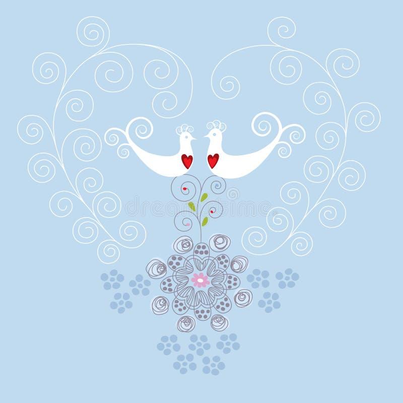 Pájaros del amor y ornamento del corazón ilustración del vector