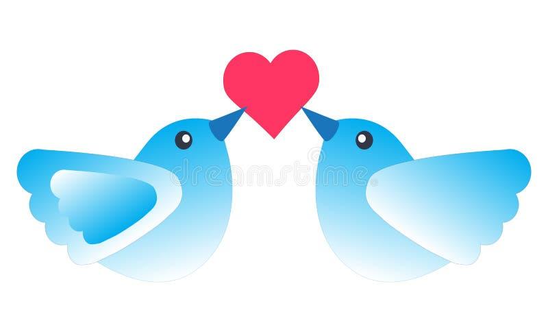 Pájaros del amor y un árbol libre illustration