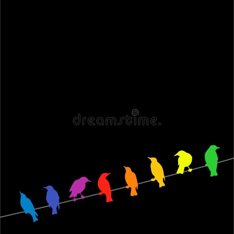 Pájaros del arco iris en un alambre stock de ilustración