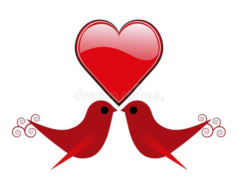 Pájaros del corazón y del amor de la tarjeta del día de San Valentín stock de ilustración