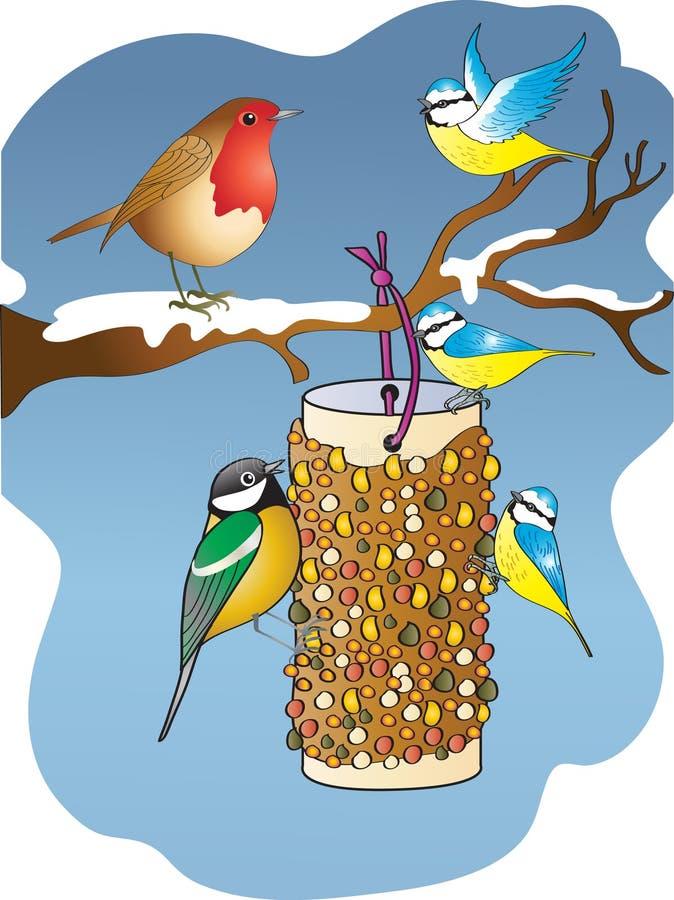 Pájaros del jardín que alimentan desde un alimentador del pájaro en invierno stock de ilustración