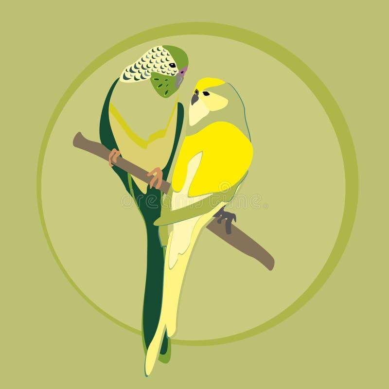 Pájaros del limón en el árbol Loros ondulados stock de ilustración